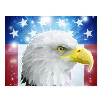 Concepto de la bandera del águila de América Postales