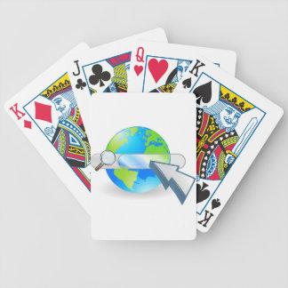 Concepto de la barra del seach del globo del Web Baraja Cartas De Poker