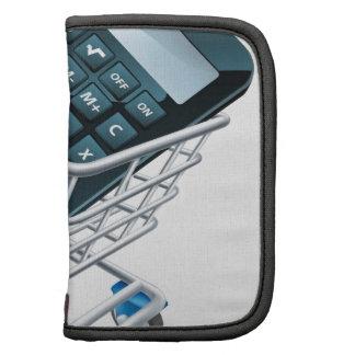 Concepto de la carretilla de la calculadora organizadores