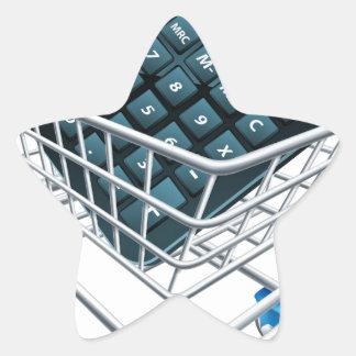Concepto de la carretilla de la calculadora calcomanías forma de estrellaes