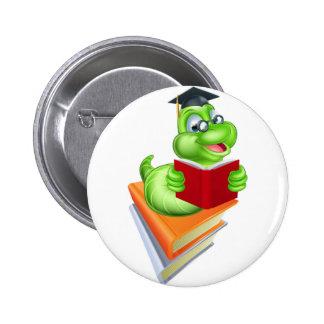 Concepto de la educación del ratón de biblioteca pin redondo de 2 pulgadas