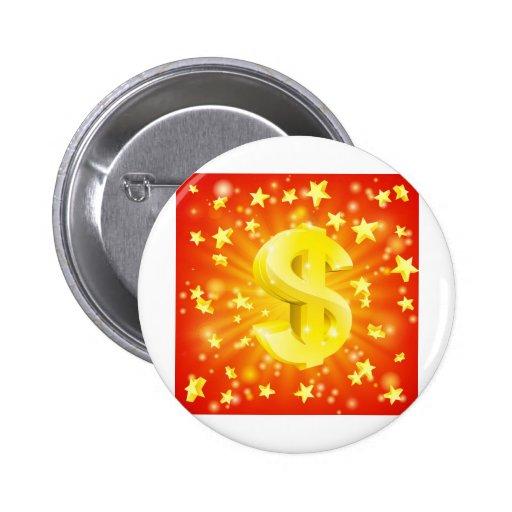 Concepto de la estrella del dinero del dólar pins