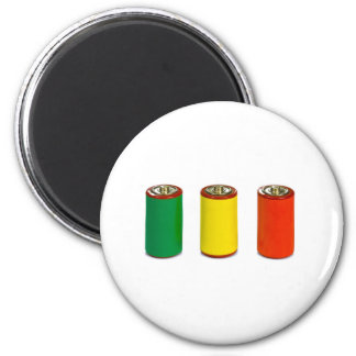 concepto de la gestión de energía - verde, rojo y  imán redondo 5 cm