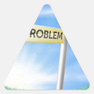 Concepto de la muestra de la solución del problema calcomania de triangulo personalizadas