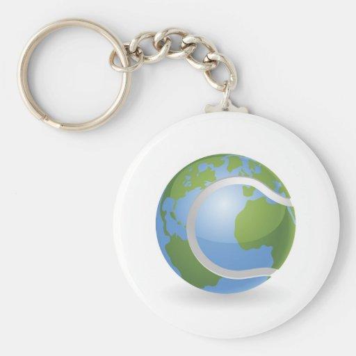 Concepto de la pelota de tenis del globo del mundo llavero personalizado
