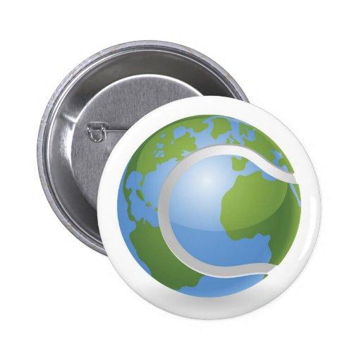 Concepto de la pelota de tenis del globo del mundo pins