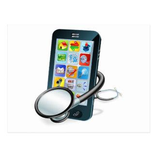 Concepto de la revisión médica del teléfono celula postales