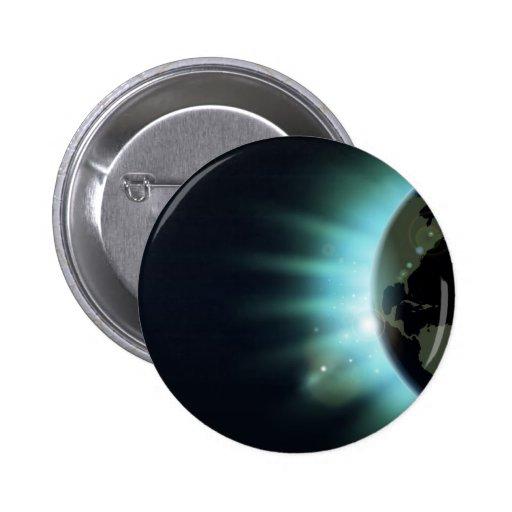 Concepto de la salida del sol del eclipse del glob pin