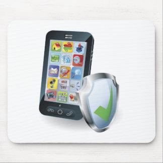 Concepto de la seguridad del teléfono móvil alfombrilla de raton