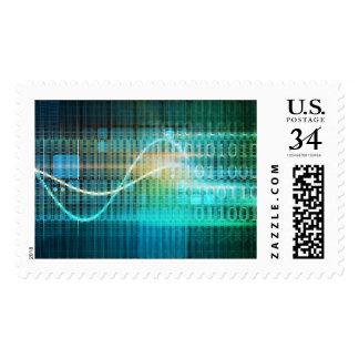 Concepto de la tecnología con arte abstracto de sellos postales