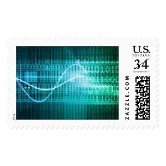 Concepto de la tecnología con arte abstracto de timbre postal