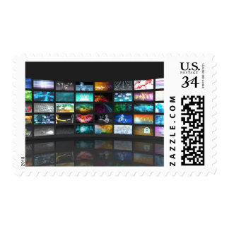 Concepto de la tecnología de producción de la sello postal
