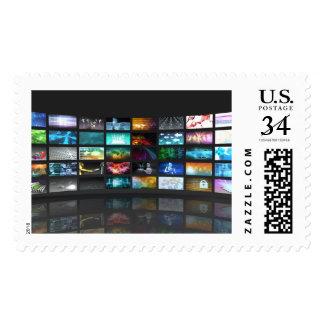 Concepto de la tecnología de producción de la timbre postal