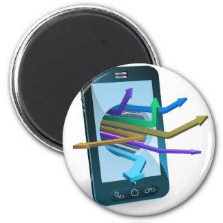 Concepto de las flechas del teléfono iman de frigorífico