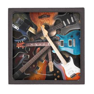Concepto de las guitarras eléctricas caja de recuerdo de calidad