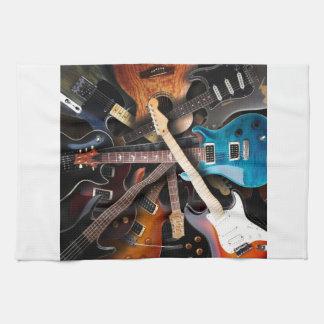 Concepto de las guitarras eléctricas toalla de cocina