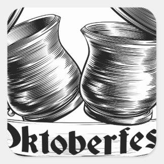 Concepto de Oktoberfest de la tostada de la jarra Pegatina Cuadrada