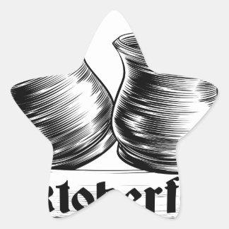 Concepto de Oktoberfest de la tostada de la jarra Pegatina En Forma De Estrella