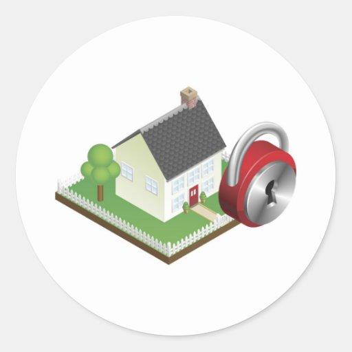 Concepto de sistema de seguridad en el hogar etiqueta redonda