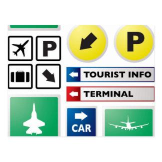 Concepto del aeropuerto tarjetas postales