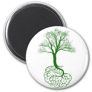 Concepto del árbol del cerebro imán redondo 5 cm