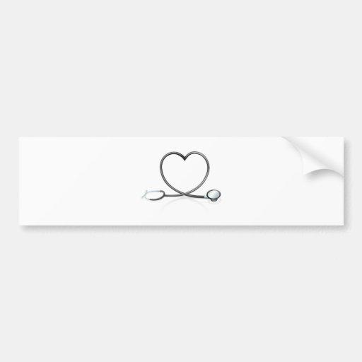 Concepto del corazón del estetoscopio pegatina de parachoque