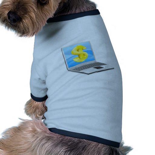 Concepto del dinero del dólar del ordenador portát camisa de mascota