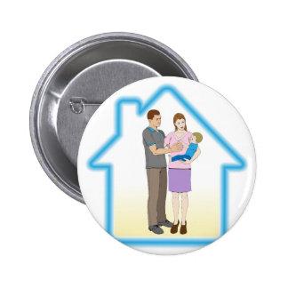 Concepto del domicilio familiar pin redondo 5 cm