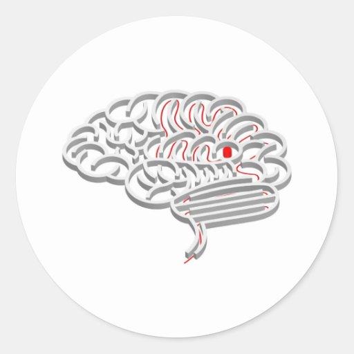 Concepto del laberinto del cerebro pegatina redonda