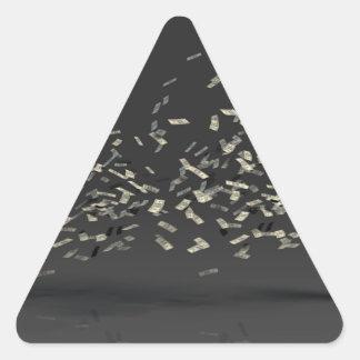 Concepto del márketing con el hombre de negocios pegatina triangular