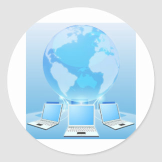 Concepto del mundo de la red de ordenadores pegatinas redondas