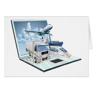 Concepto del ordenador portátil de la logística tarjeta de felicitación