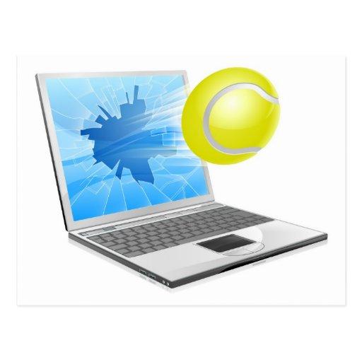 Concepto del ordenador portátil del tenis postal