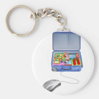 Concepto del ratón de la maleta de las vacaciones llaveros personalizados