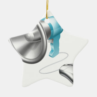 Concepto del ratón del megáfono adorno navideño de cerámica en forma de estrella