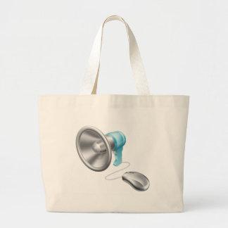 Concepto del ratón del megáfono bolsa lienzo