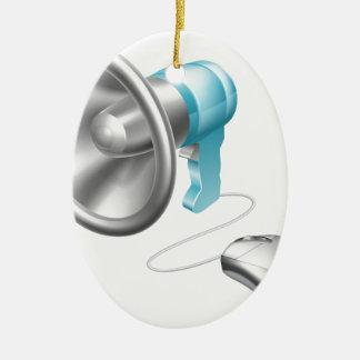 Concepto del ratón del megáfono adorno ovalado de cerámica