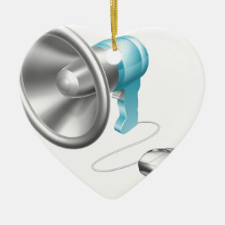 Concepto del ratón del megáfono adorno de cerámica en forma de corazón