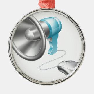 Concepto del ratón del megáfono adorno redondo plateado