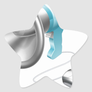 Concepto del ratón del megáfono pegatina en forma de estrella