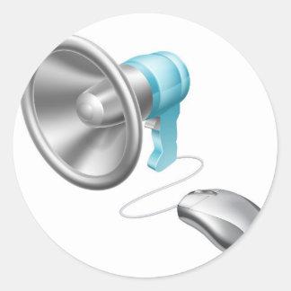 Concepto del ratón del megáfono pegatina redonda
