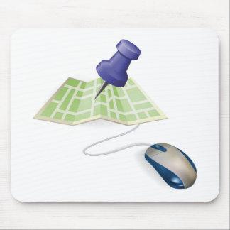Concepto del ratón y del mapa alfombrilla de ratones