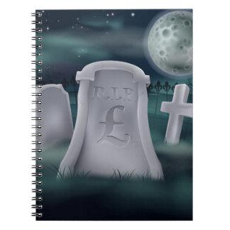 Concepto del sepulcro de libra esterlina cuaderno