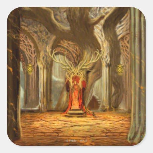 Concepto del sitio del trono del reino del calcomanía cuadradas