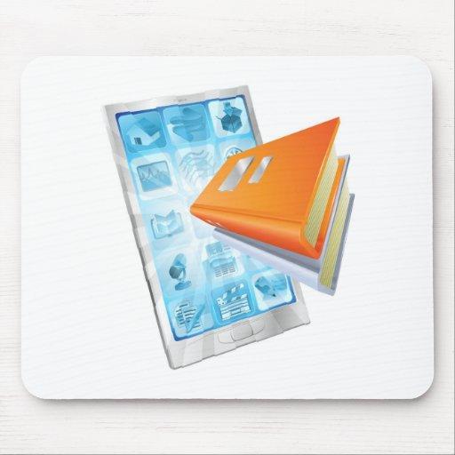 Concepto del teléfono del app del libro alfombrilla de raton