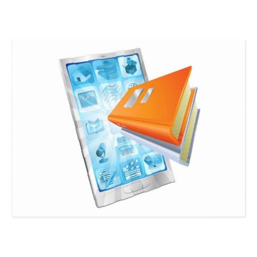 Concepto del teléfono del app del libro tarjetas postales