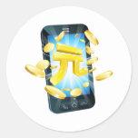 Concepto del teléfono del dinero de Yuan Pegatina Redonda
