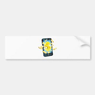 Concepto del teléfono del dinero del dólar pegatina de parachoque