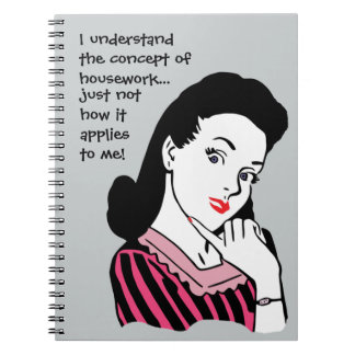 Concepto divertido del quehacer doméstico spiral notebooks