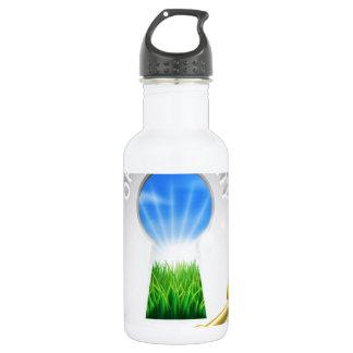 Concepto dominante de la oportunidad botella de agua de acero inoxidable
